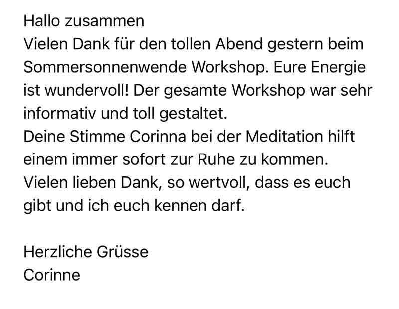 Positive Kundenbewertung für Energetik Workshop